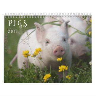 Calendario de pared de los cerdos - sonrisa en
