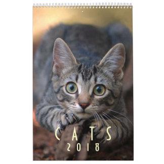 Calendario de pared del amante del gato 2018