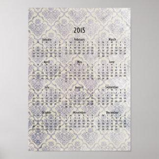 Calendario de pared descolorado del papel pintado póster