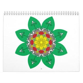 Calendario De Pared Elementos decorativos del vintage del verde de la