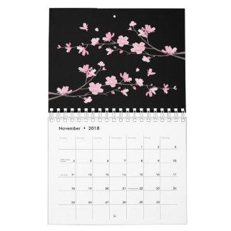 Calendario De Pared Flor de cerezo - negro