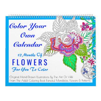 Calendario De Pared Las flores colorean su propio color personalizado