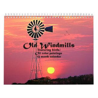 Calendario De Pared Molinoes de viento viejos: Pinturas del color de