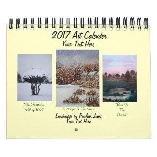 Calendario De Pared nieve y arte estacional 2017 de los paisajes de