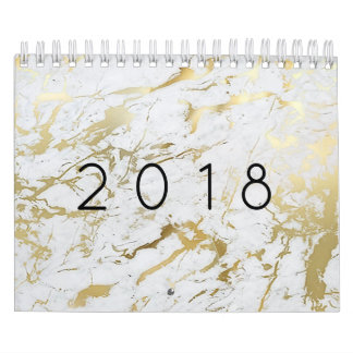 Calendario De Pared Piedra de plata blanca de mármol mínima del oro de