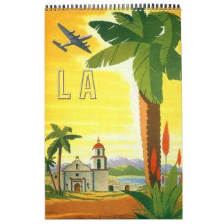 Calendario De Pared Posters del viaje internacional del vintage