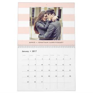 Calendario De Pared Rayas de moda modernas con sus fotos