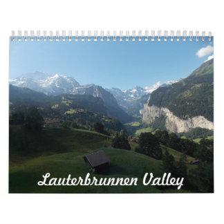 Calendario de Suiza del valle de Lauterbrunnen