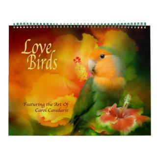 Calendario del arte de los pájaros del amor
