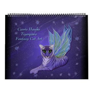 Calendario del arte del gato de la fantasía. Gatos