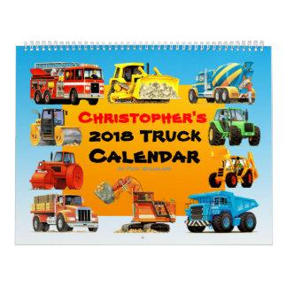 Calendario del camión de la construcción de 2018