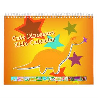 Calendario lindo de los dinosaurios del dibujo