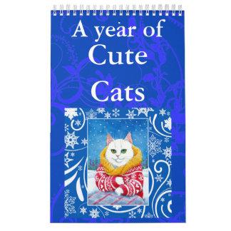 Calendario lindo de los ilustraciones del arte del