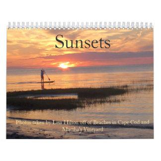 Calendario magnífico de las puestas del sol