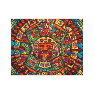 Calendario maya colorido impresión en lienzo