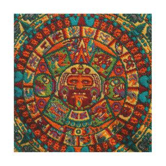 Calendario maya colorido impresión en madera
