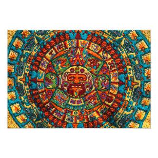Calendario maya colorido impresión fotográfica