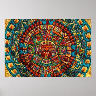 Calendario maya colorido póster