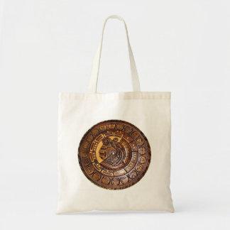 Calendario maya con un agujero en el centro bolsa tela barata