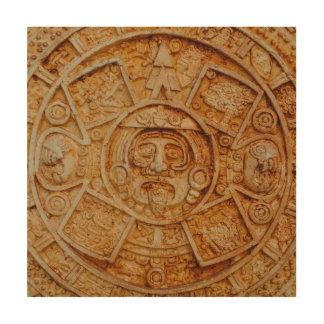Calendario maya de dios impresión en madera
