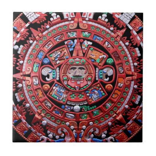 Calendario maya de Sunstone del metal Azulejo Cuadrado Pequeño