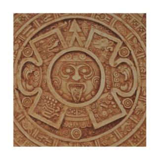 Calendario maya impresión en madera