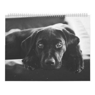 Calendario negro de Labrador 2018