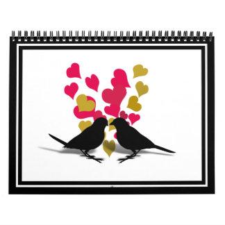 Calendario Pájaros del amor con los corazones del rojo y del