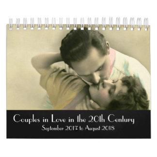 Calendario Pares en amor en el 2017-2018 del siglo XX