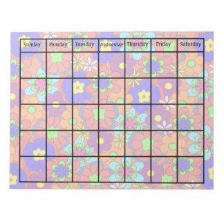 Calendario retro del espacio en blanco de la flor bloc de notas