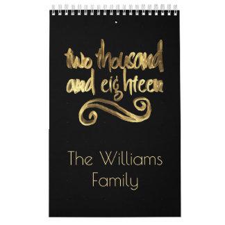 Calendario Tipografía negra elegante del oro de la Feliz Año