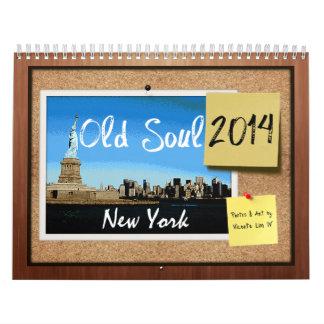 Calendario viejo 2014 de Nueva York del alma