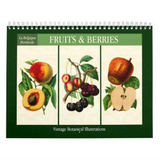 Calendario Vintage 2018 botánico de la fruta y de las bayas