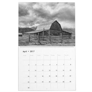 Calendario Yellowstone, el Tetons magnífico, e Idaho 2017