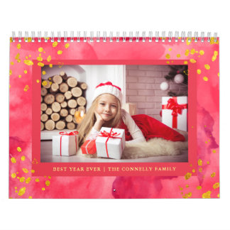 Calendarios De Pared Acuarela colorida de moda con la foto del oro el |