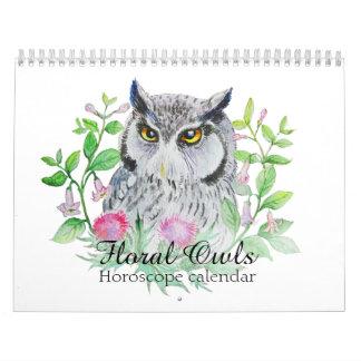 Calendarios De Pared Búhos florales su muestra del horóscopo de la flor