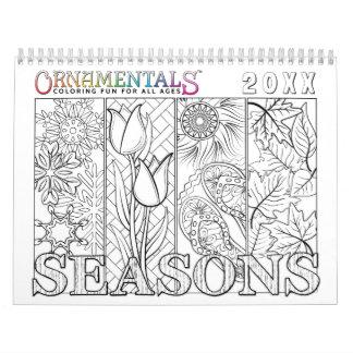 Calendarios De Pared Estaciones de los OrnaMENTALs que colorean con el