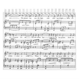 Calendarios De Pared Modelo blanco y negro de la partitura