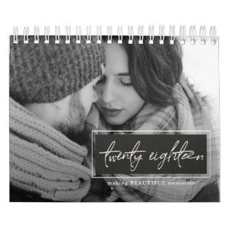 Calendarios De Pared Veinte foto blanco y negro de dieciocho escrituras