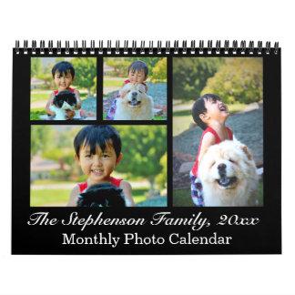 Calendarios Foto de encargo del collage negro clásico mensual