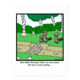 Calentamiento del planeta: Dibujo animado del Postal