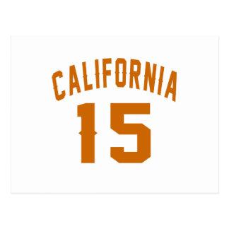 California 15 diseños del cumpleaños postal