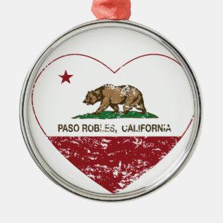california flag paso robles heart distressed ornaments