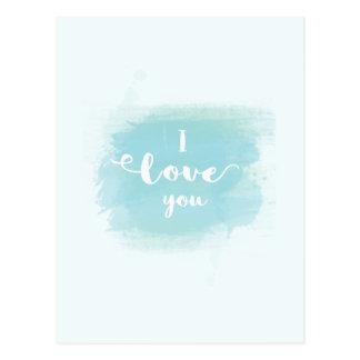 Caligrafía azul de la acuarela del bonito te amo postal