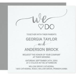 """Caligrafía de plata simple """""""" ajustamos el boda invitación 13,3 cm x 13,3cm"""