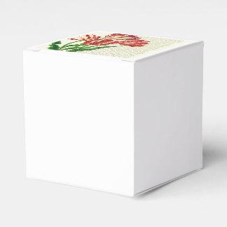 Caligrafía roja de los tulipanes caja de regalos