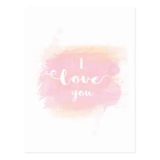 Caligrafía rosada de la acuarela del bonito te amo postal