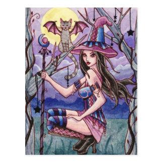 Calista - postal de la bruja de Halloween