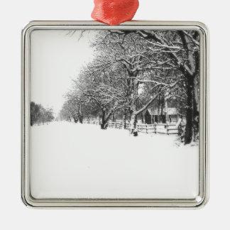 Calle de la conferencia en el pleno invierno adorno navideño cuadrado de metal