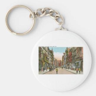 Calle de Mott, CHINATOWN, New York City (vintage) Llavero Redondo Tipo Chapa